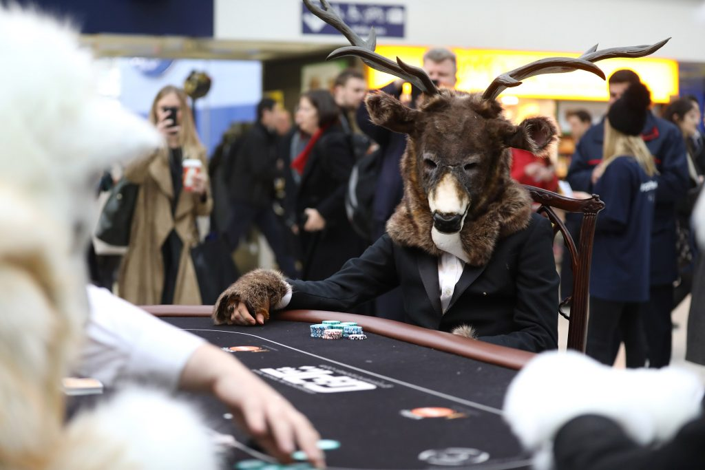 LONDON, ENGLAND - DECEMBER 07: Grosvenor Casinos launches 'Call Of The Wild' Christmas campaign with an inspired re-creation of an iconic image at Waterloo Station on December 7, 2016 in London, England. For more information please contact grosvenor@publicasity.co.uk (Photo by Tim P. Whitby/Getty Images for Grosvenor Casinos)